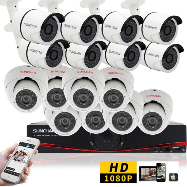 16CH CCTV System 1080P HDMI AHD 16CH DVR 2.0 MP IR In/Outdoor Security Camera Surveillance System