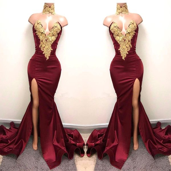 New Design 2K18 Sexy Burgundy Prom Dresses with Gold Lace Appliqued Mermaid Front Split for 2018 Long Party Evening Wear Gowns