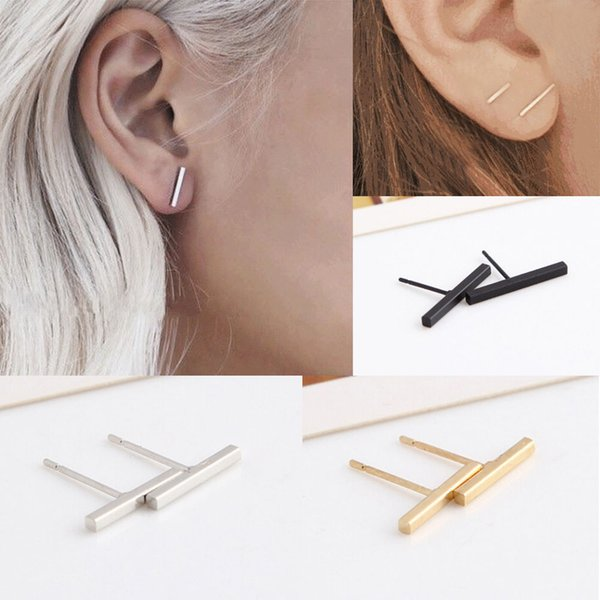 best selling Women Girls New Fashion Simple Design Black Silver Gold Tiny Bar fashionable Cute Stud Earrings