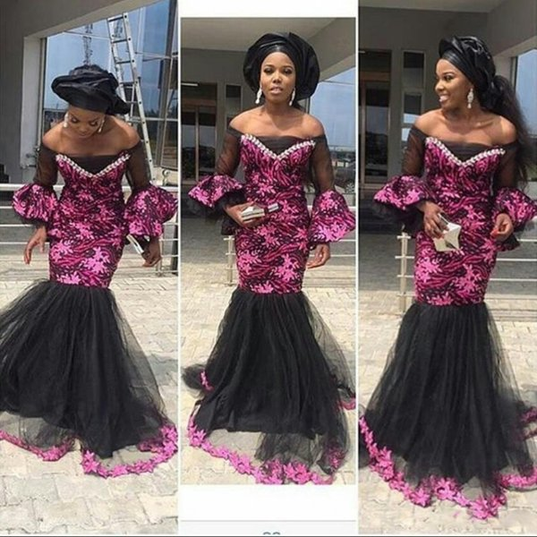 South African Off Shoulder Prom Dresses 2017 Fushia Lace Appliques Sheer Long Sleeve Tulle Mermaid Evening Gowns Formal Party Vestidos