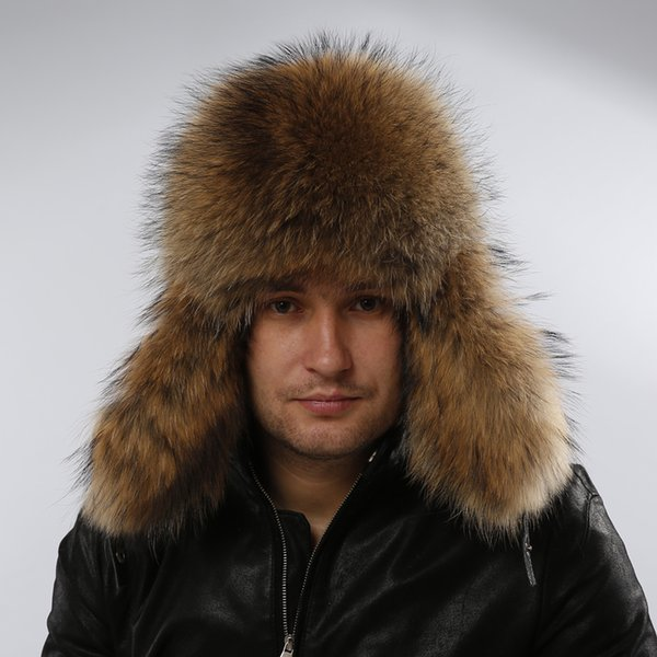 Wholesale-Star Fur Genuine Silver Fox Fur Hats Men Real Raccoon Fur Lei Feng Cap for Russian Men Bomber Hats with Leather Tops