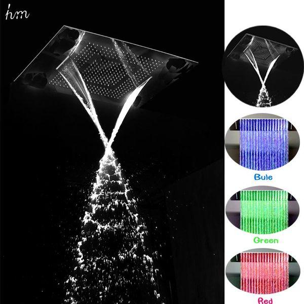 Çok Fonksiyonlu Duş Başlığı 360 * 500mm Paslanmaz Çelik Tavan Yağmur Duş Hidro Güç LED Şelale Duş Banyo Aksesuarları 161222 # 16122