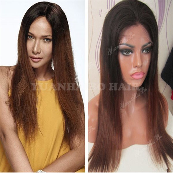 Celebrity Wigs Lace Front Wig Ombre Color 1b/T4 Two Tone Brazilian Virgin Remy Human Hair Straight Ombre Full Lace Wigs Free Shipping
