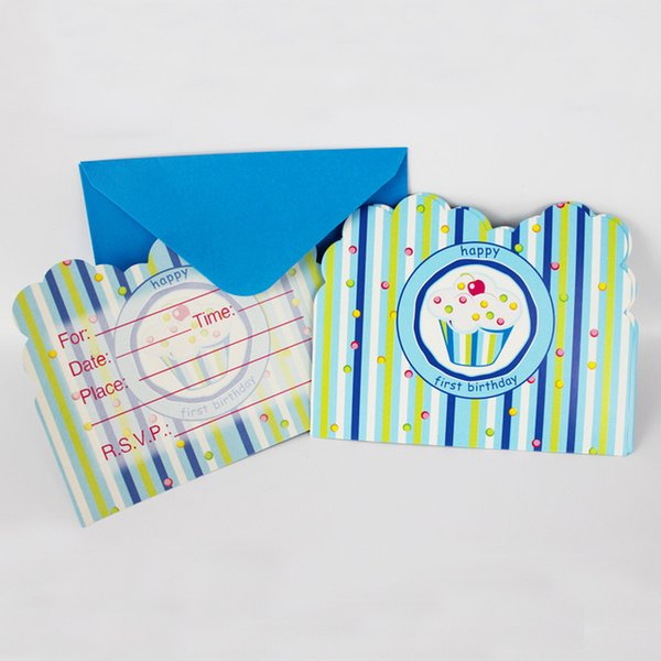 Wholesale- 12People Use Blue Ice Cream Theme Kid Boy Girl Baby Happy Birthday Party Decoration Kids Supplies Favors Invitation Cards