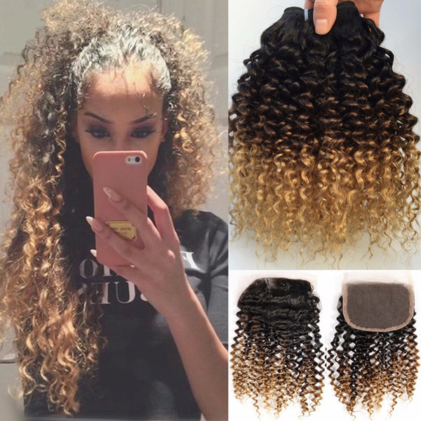 1B 4 27 Honey Blonde Ombre Brazilian Human Hair Weaves With Lace Closure Deep Curly Wave Three Tone 3Bundles With Closure 4Pcs Lot