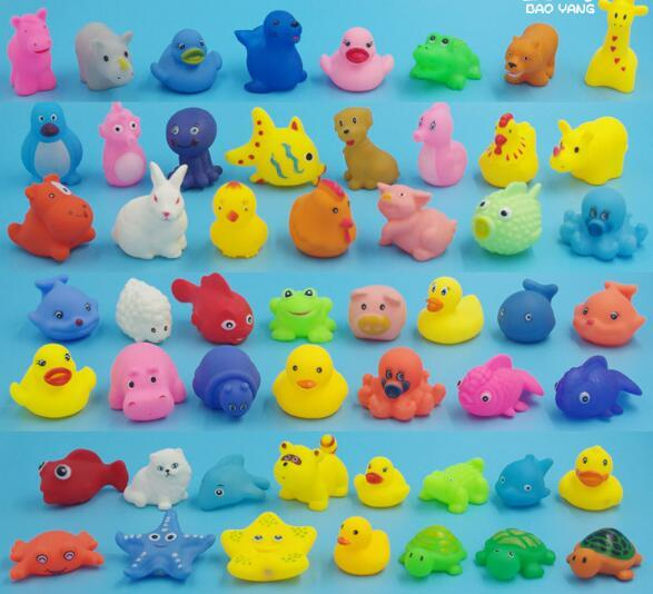 Baby Bath Toys Soft Rubber Duck Animals Car Boat Kids Water Toys Squeeze Sound Spraying Beach Bathroom Toys For Children YH536