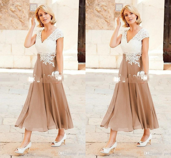 top popular V Neck Chiffon A Line Mother Dresses Ankle Length Party Dresses For Mother Formal Wear with Cap Sleeve Mother of the Bride Dress 2019