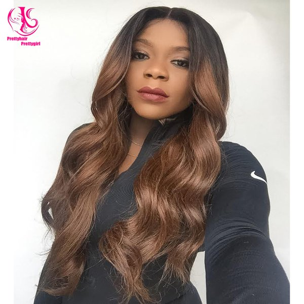 Cheap Extra Long Synthetic Lace Front Wig Heat Resistant Wavy black ombre to dark/middle brown Wig Natural Wig for woman