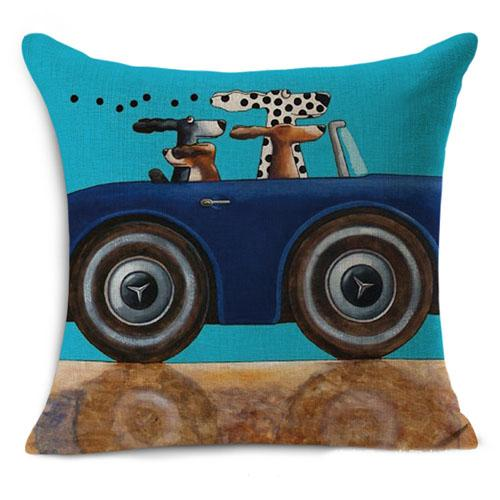 """top popular Popular Linen Cushion Cover Digit Print Dog Driver Car Driving Dogs Cartoon Cute Linen Fabric 18""""*18"""" Size Washable Removeable Home Sofa Use 2019"""