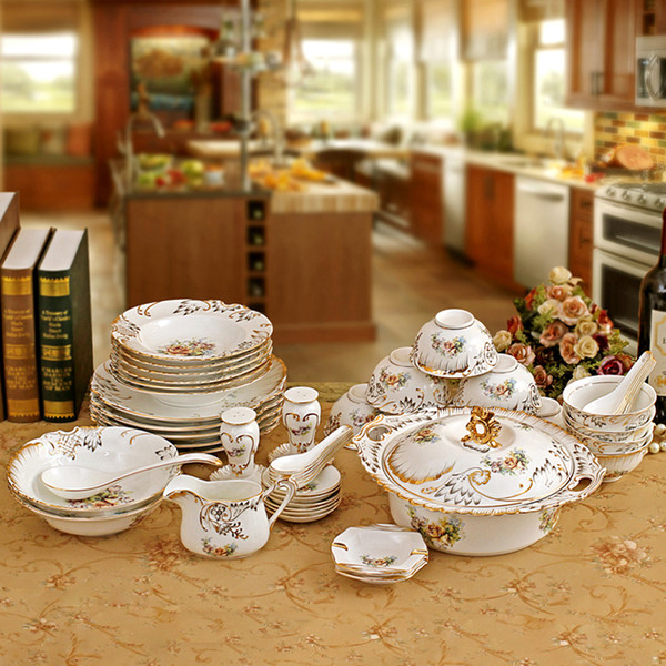 Porcelain dinnerware set bone china flower design embossed outline in gold 55pcs dinnerware sets housewarming wedding gifts