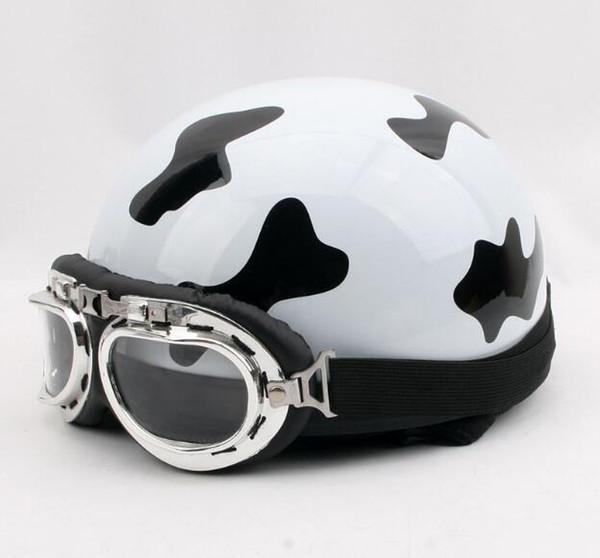 New Milky Motorcycle Helmet Unisex Men Women Bike Bicycle Helmet Motorbike Open Face Half Helmet + Visor + Protective Goggles