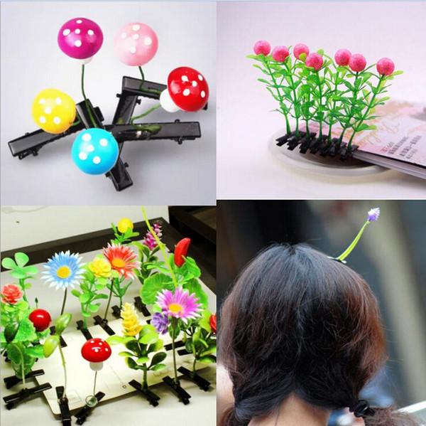 Newest 50pcs Novelty Plants Grass Hair Clips Headwear Small Bud Antenna Lucky Grass Bean Sprout Mushroom Party Hair Pin Hd3401