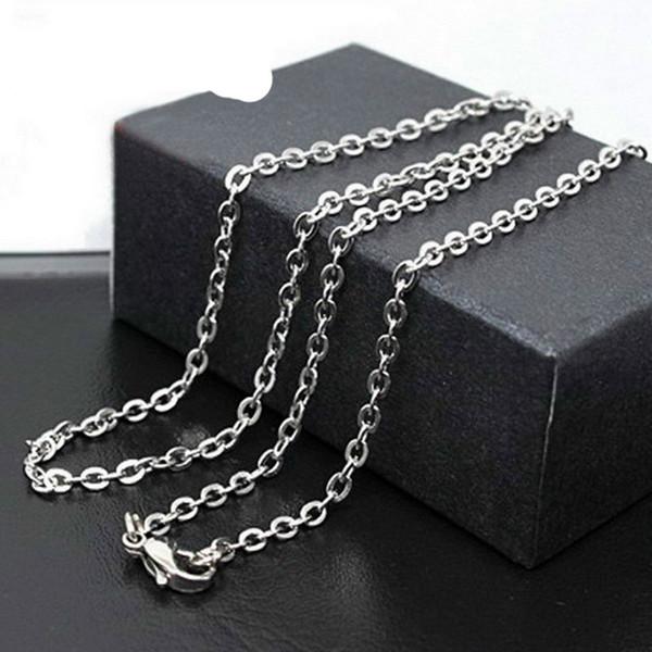 Gümüş Zincir 2.4mm O Zincir Kolye 316L Paslanmaz çelik Zincir Fit DIY kolye Kolye Noel Hediyesi