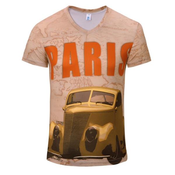 Summer Men's 3D Print T-shirt Tees Cotton Short Sleeve Cartoon Characters V-neck Slim t Shirt Funny Casual Cool Autumn