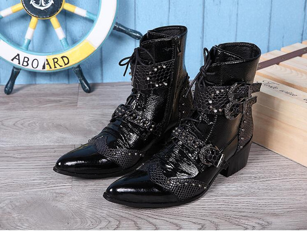 Men's leather boots cowboy boots leather men's casual fashion and personality short boots in Europe and the rivet Martin