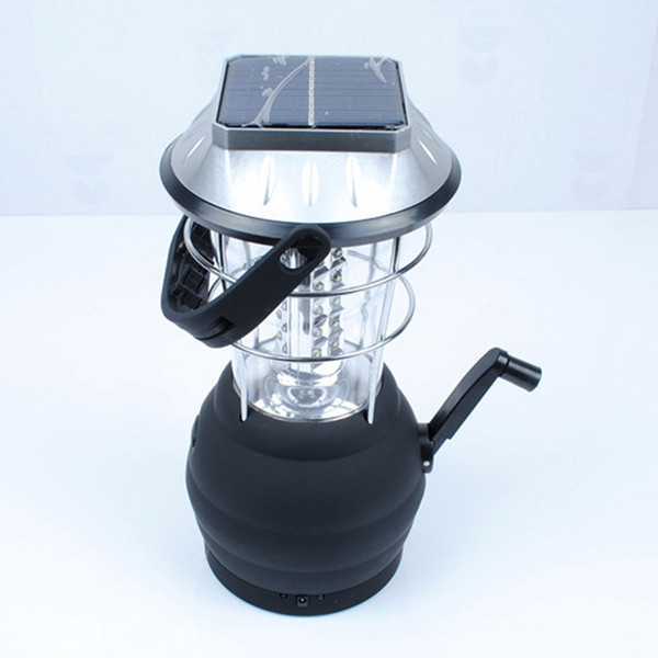 New Portable Lantern With Solar Sun Power Hand Crank Dynamo Powered Rechargeable 36 LED Lantern Lamp Flashlight For Camping Fishing