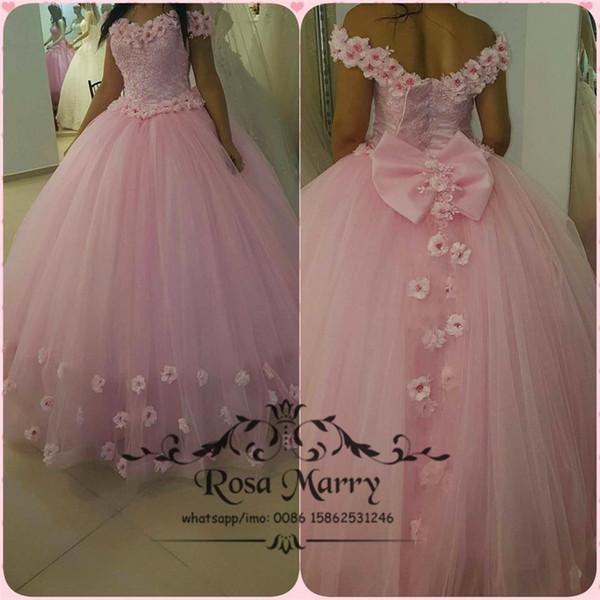 Compre Pink Sweet 16 Masquerade Ball Dress Quinceanera 2020 Off Shoulder Vintage Lace 3d Flowers Plus Size Vestidos 15 Años Vestidos De Cumpleaños A