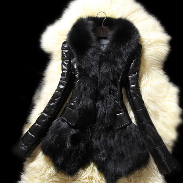 best selling Wholesale- Women's Winter Warm Leather Jacket Coat Fashion Long Faux PU Leather Coat Parka Fur Collar Thick Cotton Quilted Jacket Black L3