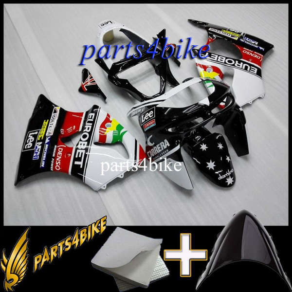 ABS Fairing for Kawasaki ZX6R 98 99 ZX-6R 1998 1999 98-99 white red black Body Kit motorcycle panels