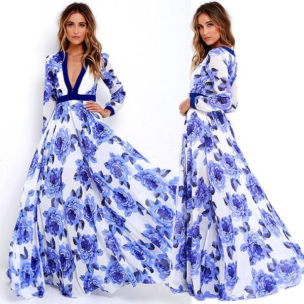 Wholesale- V Neck Beach Flower Dress Vestito estivo Donna Lady Abiti estivi sexy Abiti Boho Maxi Long Party Deep