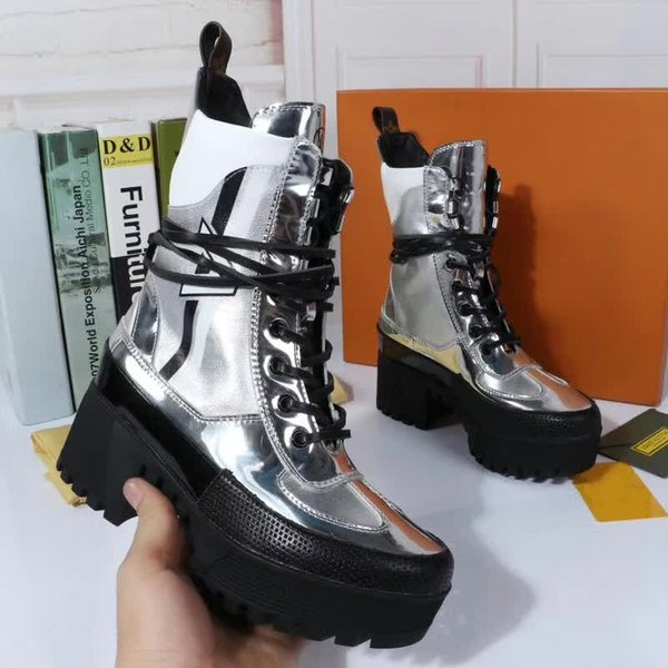 Silver High Platform Military Boots Feminino Lace up Womens Leather Fall Combat Boot Size 41