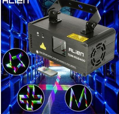 new style ALIEN Remote 3D RGB 400mW DMX 512 Laser Scanner Projector Stage Lighting Effect Party Xmas DJ Disco Show Lights Full Color Light