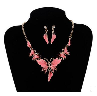 Fashion Alloy Bridal Butterfly Necklace Earrings Jewelry Set 4 Color Butterfly Choker Necklace Jewelry Sets Chain Necklace Earrings sets