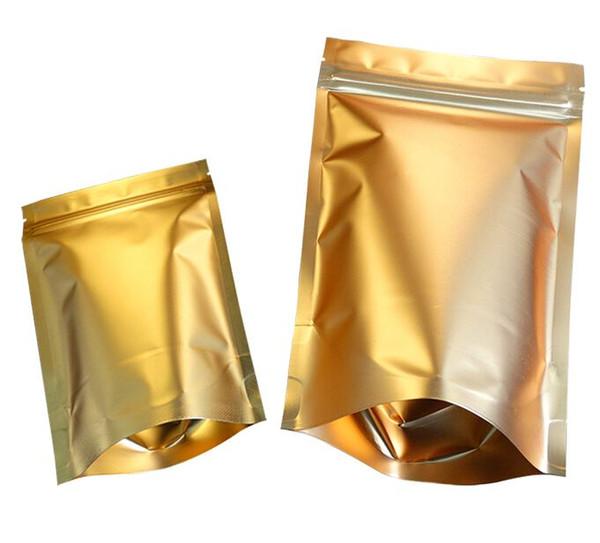золотой алюминиевой фольги Ziplock упаковки мешок / еды молния мешочков Zipper кофе закрывающийся мешок подарка