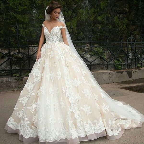best selling Vintage Turkey Lace Ball Gown Wedding Dress 2019 Off Shoulder Princess Lebanon Illusion Jewel Neck Arab Bride Bridal Dress Gown Weddingdress