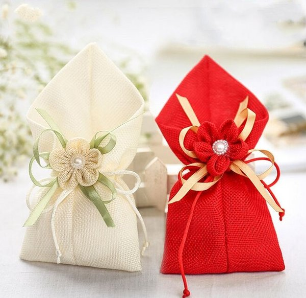 Free shipping Wedding Favor Holders Linen Gift Pouches Candy Chocolate Present Gift Guess Pouches 2 colors
