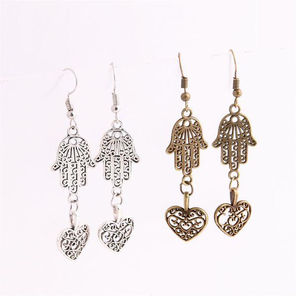 12pcs/lot Metal Alloy Zinc Love Pendant Hamsa Hand Connector Hollow Heart Charm Drop Earing Diy Jewelry Making C0671