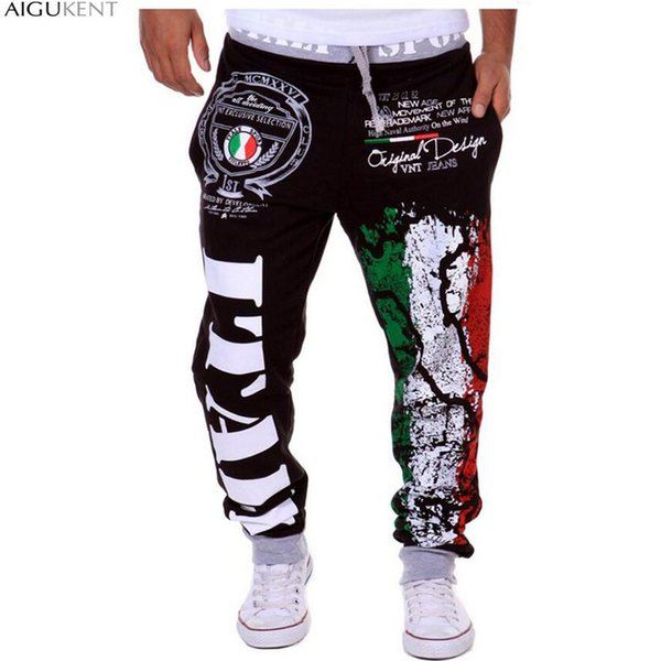 volontiers / Pantalones al por mayor-Jogger al aire libre Joggers Hombres 2016 Hombres Carta de impresión Harem Pants Sweat Pant Hombres Pantalones Wear Mens Jog