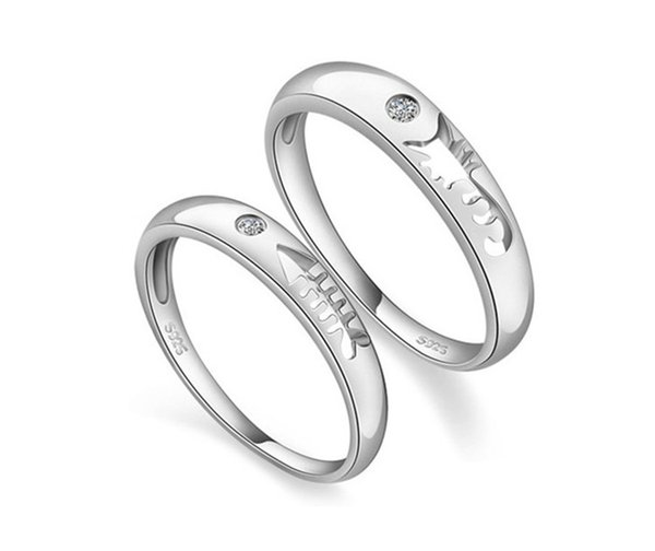 Uloveido Fish Couple Rings Silver 925 CZ Diamond Jewelry Men Ring Cute Animal Women Crystal Anillos for Lovers GiftJ259