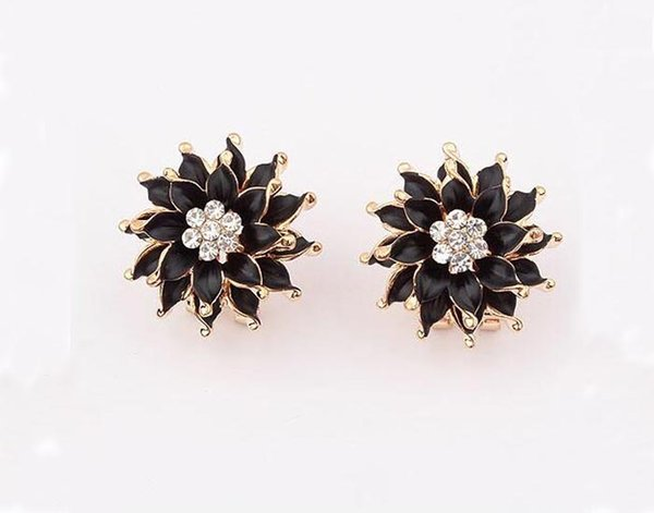 Fashion boutique Lily flower elegant ear clip stud earrings for women Red black white colors free shipping