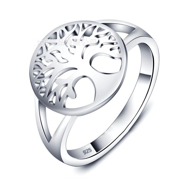 18 Karat Weißgold der echten Frauen des Art- und Weisegewohnens überzog echten 925 Sterlingsilber Ring Baum des Lebens Frauen-Jahrestags-Geschenk