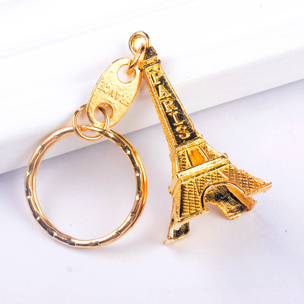 top popular Vintage Eiffel Tower Keychain stamped Paris France Tower pendant key ring gifts Fashion Gold Sliver Bronze 2019