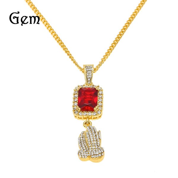 2017 Fashion Hip Hop Jewlery Ruby Charm Prayer Hand Pendants Necklaces For Mens Street Style Party Accessories Wholesale