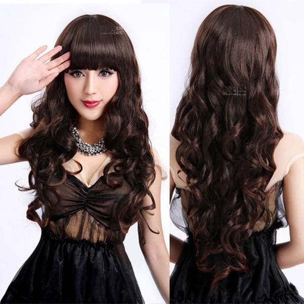 Mujeres damas largo rizado cosplay peluca niñas Natrual negro marrón claro marrón oscuro 70 cm pelucas de cabello sintético