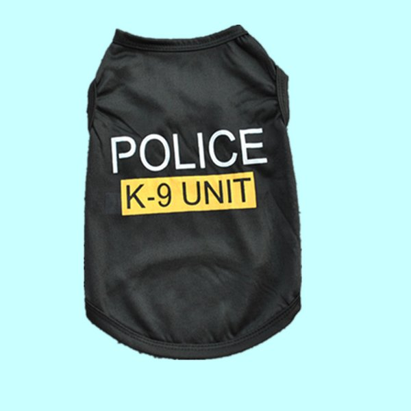 Small Dog Pet Puppy Vests Cool Polyester Black Police T-shirt Clothing Clothes for Puppy Poodle Teddy