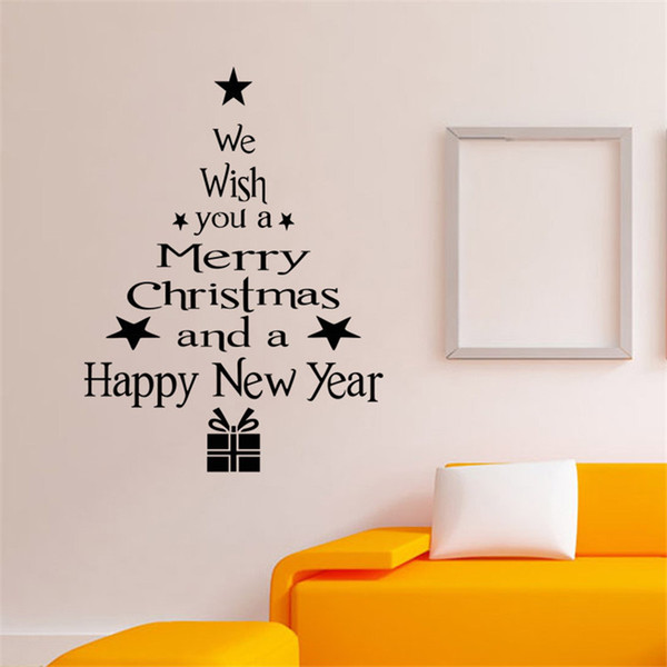 Handmade Graphic vinyl wall sticker of Merry Christmas Tree for home decorative tree wall decal mural & Handmade Graphic Vinyl Wall Sticker Of Merry Christmas Tree For Home ...