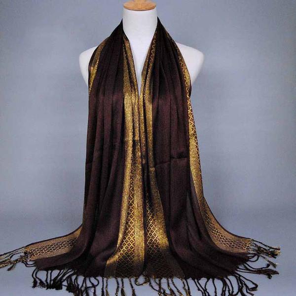 Atacado-Plain Viscose Hijab islâmico sacrf hijab jersey hijabs Silk Muçulmano Lindo Casamento muçulmano Laço ouro islâmico hijab C41 Lenço