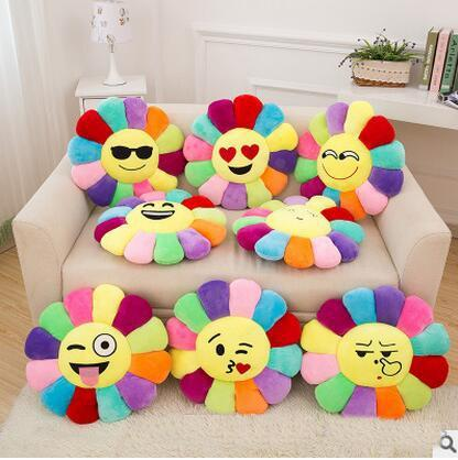 2017 Emoji Sunflower Cushion Short Plush Soft Comfortable