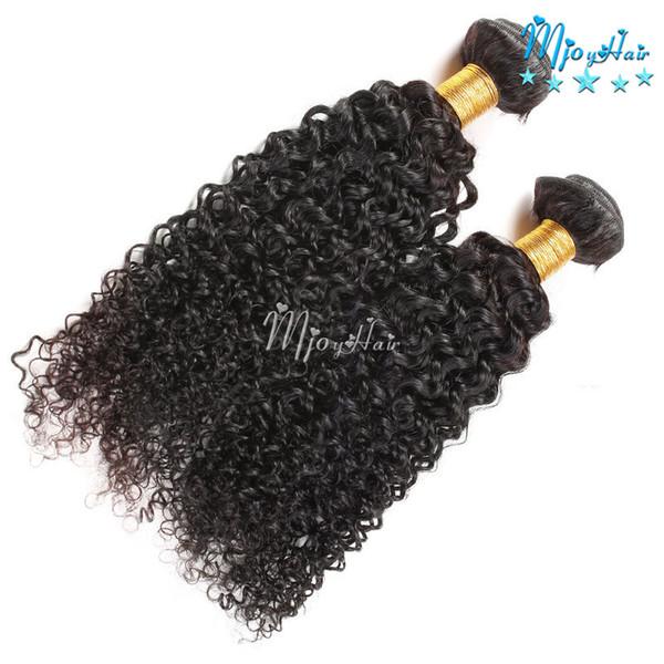 Faisceaux indiens de cheveux bouclés de prolongements de cheveux de Kinky, non tissés cheveux de Vierge de couleur naturelle pour des femmes noires, 8-28 pouces 2pcs / LOT
