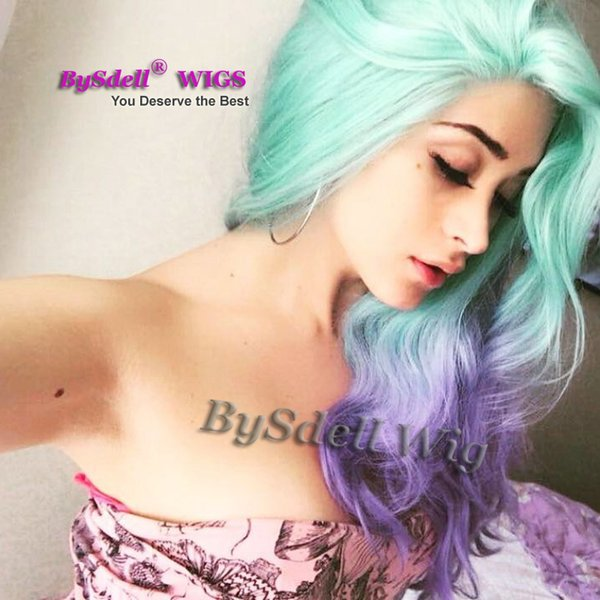 Sexy Lady Colorful wavy hair wig synthetic heat resistant pastel light green ombre purple colour hair lace front wigs for white lady