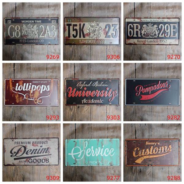 Western European Car Metal License Plate Vintage Home Decor Tin Sign Bar Pub Cafe Garage Decorative Metal sign 30*15cm