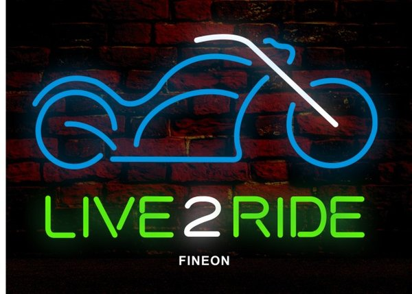 LIVE 2 RIDE Neon Sign Real Glass Tube Bar CLUB Store Business Advertising Home Decoration Art Gift Display Metal Frame Size 17''X14''