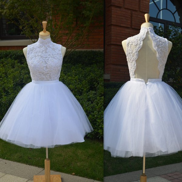2017 Short Beach Ball Gown Wedding Dresses High Neck Backless Tulle Appliques Lace Real Picture Bridal Gowns Sexy Illusion Brides Dress