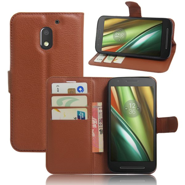 Diforate New Arrival Luxury Leather Wallet Phone Flip Cover Pouch Case For Motorola Moto E3/Moto E(3rd Gen.)
