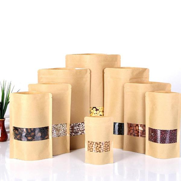 12 sizes 100pcs small/large kraft paper bag food packaging bags ,ziplock coffee sample package bags brown kraft tea bag