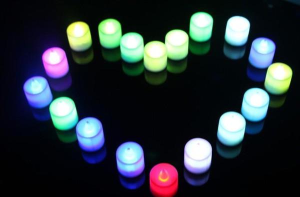 Festive supplies wholesale electronic flash LED colorful / monochrome emulation luminous romantic surprise marriage proposal candle